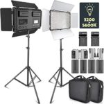 LED Video Light, SAMTIAN Dimmable Bi-Color 600 LED Studio Lights and Stand Lighting Kit: 3200K-5600K LED Panel Light with Barndoor, 2M Light Stand for YouTube Studio Photography Video Shooting
