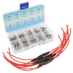QLOUNI 10pcs 5x20mm Fuse Holder Inline Screw Type with 18 AWG Wire & 100pcs 5x20mm Fast-Blow Glass Fuses Assorted Kit Amp 0.1A, 0.2A, 0.25A, 0.3A, 0.5A, 1A, 1.5A, 2A, 3.15A, 6.3A