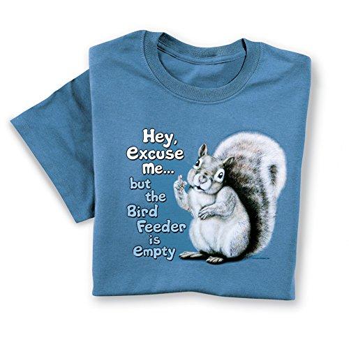 Collections The Birdfeeder Is Empty Funny Squirrel Tee, Blue, Medium