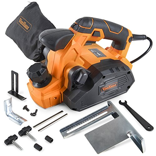 VonHaus 7.5 Amp Electric Wood Hand Planer Kit with 3-1/4″ Planing Width and Extra Set of Planer Replacement Wood Blades