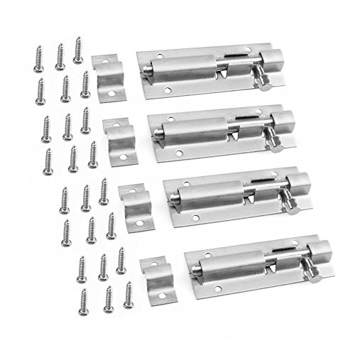 URBEST Door Latch Bolt 3 inch Stainless Steel Security Door Window Latch Sliding Lock Hardware Fitting, 4 Pack