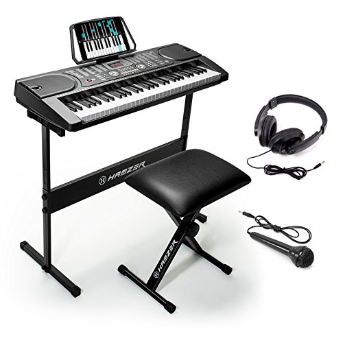 Hamzer 61-Key Portable Electronic Keyboard Piano with Stand, Stool, Headphones & Microphone