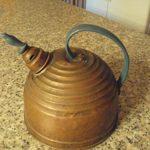 Antique Metal Copper Tea Kettle Beehive Whistling Bird Original Blue Paint