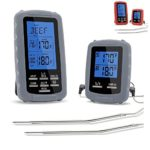 Meat thermometer digital grill oven or smoker remote food thermometers | The best wireless accessories for safe remote bbq grilling, kitchen cooking, smokers and you can even make candy (Grey)