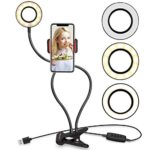 Selfie Ring Light with Cell Phone Holder Stand for Live Stream/Makeup, UBeesize LED Camera Lighting [3-Light Mode] [10-Level Brightness] with Flexible Arms Compatible iPhone 8 7 6 Plus X 6s SE Android