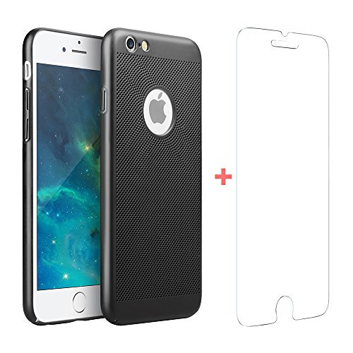 Uni-Yeap Phone Case for iPhone 6 6s Plus Mesh Case,Air Ventilation Saftety Technology Design and Super-Light Hard Material with Rubber Oil Surface(Black)