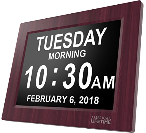 [Newest Version] Day Clock – Extra Large Impaired Vision Digital Clock with Battery Backup & 5 Alarm Options (Premium Mahogany Color)