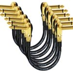 6 Units – 6 Inch -Pedal, Effects, Patch, instrument cable CUSTOM MADE By WORLDS BEST CABLES – made using Mogami 2319 wire and Eminence Gold Plated ¼ inch (6.35mm) R/A Pancake type Connectors