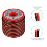 BNTECHGO 18 Gauge Flexible 2 Conductor Parallel Silicone Wire Spool Red Black High Resistant 200 deg C 600V for Single Color LED Strip Extension Cable Cord,Model,Lead Wire 50ft Stranded Copper Wire