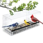 Wild Birds of Joy Window Bird Feeder with 4 Super Strong Suction Cups & Sliding Seed Tray, Large, Clear Acrylic, Easy Clean, Outdoor Bird Feeders, Outside View Up Close of Finch, Cardinal and Blue Jay