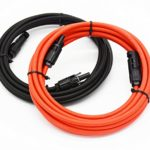 1 Pair Black + Red 10AWG(6mm²) MC4 Solar Adaptor Cable Solar Panel Extension Cable Wire MC4 Connector Solar Extension Cable with MC4 Female and Male Connectors (15FT-2)