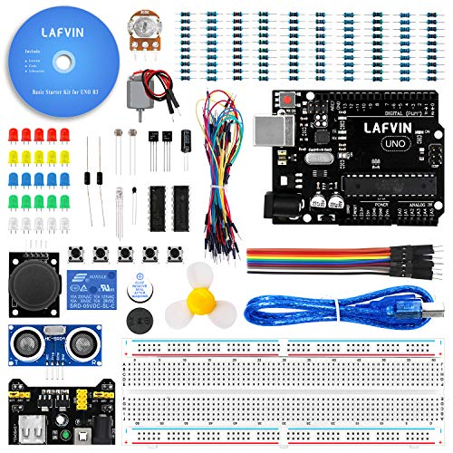LAFVIN The Basic Starter kit for Arduino with UNO R3, Breadboard, LED, Resistor,Jumper Wires and Power Supply