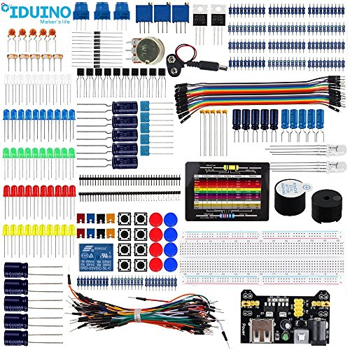 iduino Electronic Component Kit for Arduino/Raspberry Pi/Robotics Project Breadboard Jumper Wires Starter Kit Includes LEDs Resistors Arduino Kit Accessories