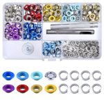 BTNOW 240 Pieces Grommet Kit Metal Eyelet Kit for Bag, Shoes, DIY Project, 8 Colors, 1/4 inches