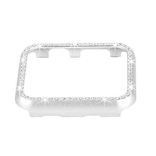 Fashion Metal Case with Bling Crystal Diamonds Plate Protective Cover Ultra Thin Bumper for Watch 38mm/42mm Series 1/2/3(Best 3D Bling Gift for Your iWatch) (Silver, 38 mm)