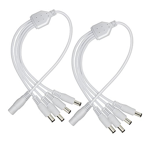 2Pack White 1 Male to 4 Femal way DC Power Splitter Cable Barrel Plug 5.52.1mm for CCTV Cameras LED Light Strip and more