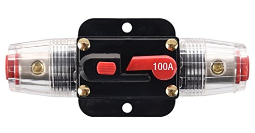 ANJOSHI 100A Auto Car Protection Stereo Switch Fuse Holders Inline Circuit Breaker Reset Fuse Inverter for Car Audio System Protection 12V-24V DC