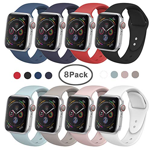 SIRUIBO Band Compatible for Apple Watch 42mm, Soft Silicone Sport Strap Replacement Bracelet Wristband Compatible for Apple Watch Series 2, Series 1, Sport, Edition, S/M Size (8Pack)