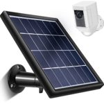 Skylety Solar Panel for Ring Spotlight Cam with Security Wall Mount, 5 m/ 16.4 ft Cable with Barrel Connector, 5 V/ 3.5 W (Max) Output (Not for Stick Up Cam/Arlo Cam Series) Without CAM (Black)
