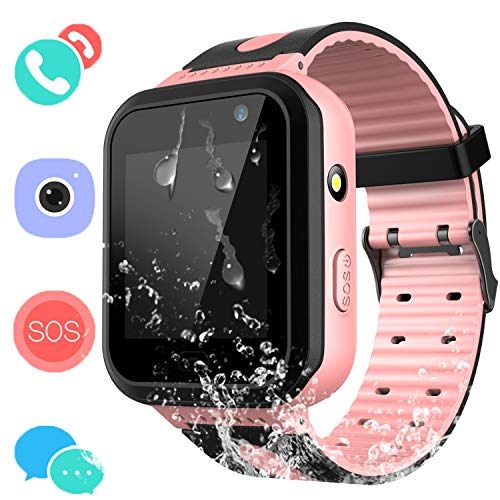 Kids Waterproof Smartwatch with GPS Tracker – Boys & Girls IP67 Waterproof Smart Watch Phone with Camera Games Sports Watches Back to School Supplies Grade Student Gifts (01 S7 Pink Waterproof Watch)