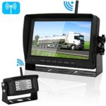 """Digital Wireless Backup Camera and 7""""Monitor Kit System for RV/Pickup/Van/Truck/Trailer Driving&Reversing Rear View/Front View Use IP69K Waterproof Night Vision Guide Lines ON/Off"""
