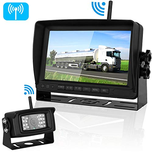 "Digital Wireless Backup Camera and 7""Monitor Kit System for RV/Pickup/Van/Truck/Trailer Driving&Reversing Rear View/Front View Use IP69K Waterproof Night Vision Guide Lines ON/Off"