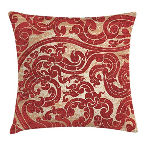 Ambesonne Antique Throw Pillow Cushion Cover, Thai Culture Vector Abstract Background Flower Pattern Wallpaper Design Artwork Print, Decorative Square Accent Pillow Case, 20 X 20 Inches, Ruby