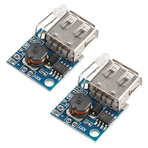 Mobile Power Supply Board, DROK 2pcs Mini USB DC-DC Step Up Converter 3V to 5V 2A Boost Voltage Regulator Module with Battery Indicator for Tablet PC Phone Charging