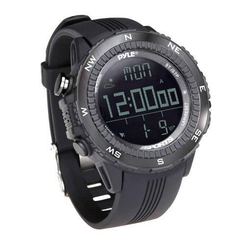 Digital Multifunction Sports Wrist Watch – Smart Fit Classic Men Women Sport Running Training Fitness Gear Tracker w/ Altimeter, Barometer, Compass, Timer, Weather Forecast – Pyle PSWWM82BK (Black)