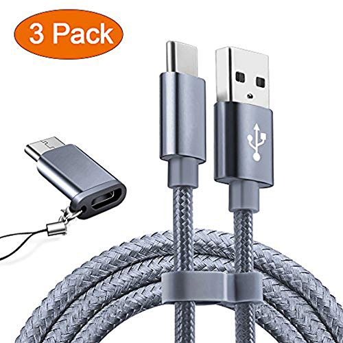 USB Type C Cable OULUOQI USB C Cable 3 Pack(6ft) Nylon Braided Fast Charger Cord(USB 2.0) Compatible Samsung Galaxy S9 Note 9 8 S8 Plus,LG V30 V20 G6 G5,Google Pixel,Nintendo Switch, MacBook(Grey)