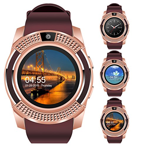 """Padcod V8 Smart Watch Bluetooth with Camera, 1.22"""" Display OGS Touch Screen,Pedometer,sedentary Reminder,Sleep Monitor,Instant Notification Anti-Lost smartwatch (Brown+Rose Gold)"""