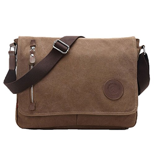 Egoelife  LB-BBPHF18  Unisex Casual High Quality Canvas Satchel Messenger Bag for Traveling Camping – Coffee