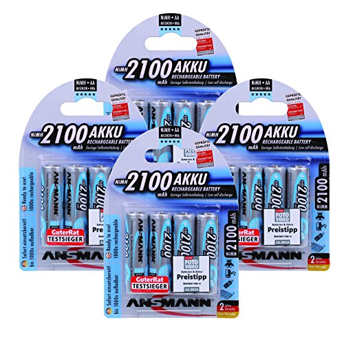 ANSMANN maxE AA Rechargeable Batteries 2100mAh Low Self Discharge (LSD) NiMH AA Battery pre-Charged for Remote, Phone etc. (16-Pack)