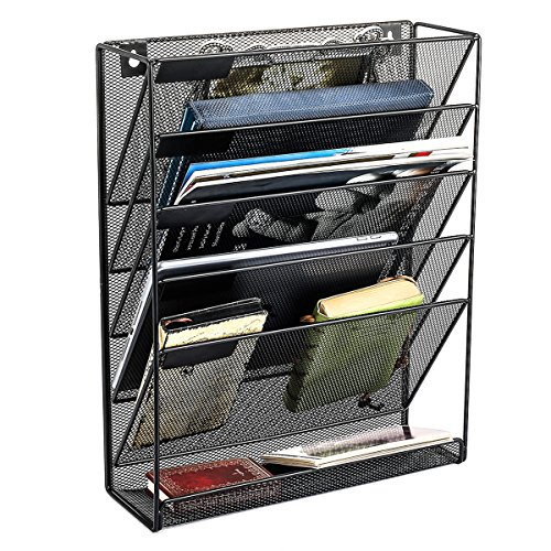 SamStar Hanging Wall File Organizer, 5 Slot Mesh Metal Wall Mounted Document Holder for Office Home, Black