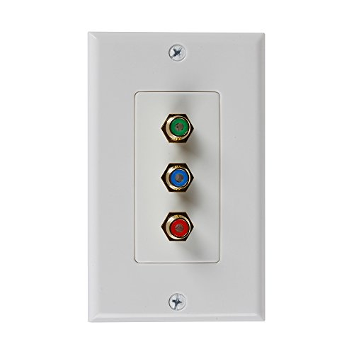 TNP 3RCA Wall Plate – Gold Plated RCA (RGB) Component Video 1080P Full HD Compatible Port / AV Composite Video + 2RCA Stereo Audio Combo Port Insert Jack Socket Wiring Plug Outlet Cover Panel Mount