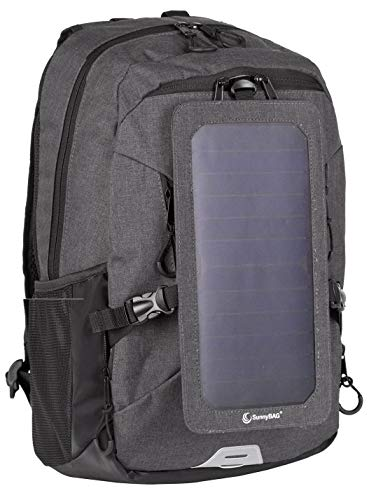 Backpack with Solar-Panel by SUNNYBAG Explorer+ | solarbag Solar Charger | World's Strongest solarpanel for Smartphone Charging on The go | Black/Black