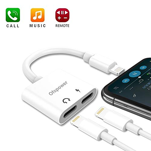 Headphone Adapter & Splitter, Headphone Jack Audio & Charge Connector Splitter Calling/Charger/Music/Remote Control for iP7/7 plus/8/8 plus/X