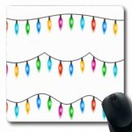 VivYES Gaming Mousepad Custom Celebration Abstract Christmas Lights White Xmas Season Glowing Garland Colored Bulbs Holidays Bright Oblong Shape 7.9 x 9.5 Inches Rectangle Non-Slip Rubber Mouse Pads