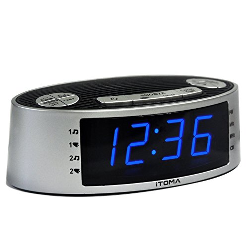 iTOMA Alarm Clock Radio, Digital AM FM, Dual Alarm, Snooze, Dimmer Control, Indoor Temperature Display, Countdown Timer, Backup Battery (CKS3301S)