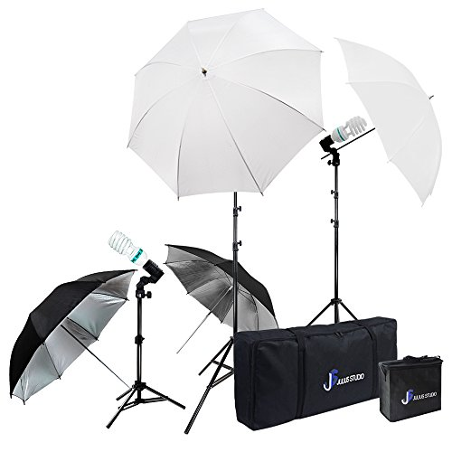 Julius Studio Photography Video Studio Portrait Lighting Kit, White Umbrella Reflector, Continuous Bulb & Socket with Umbrella Insert, Light Stand Tripod, Carry Bag, Photo Studio, JSAG2 (4-Umbrella)
