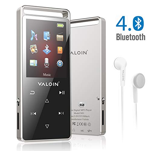 Valoin MP3 Player with Bluetooth 4.0 ,8G Lossless Sound Music Player Multifunction MP3 Player with Pedometer for Walking,Support FM Radio Voice Recorder