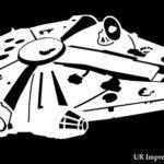 UR Impressions Millennium Falcon Decal Vinyl Sticker Graphics Cars Trucks SUV Vans Walls Windows Laptop|White|6.25 X 3.6 Inch|URI543