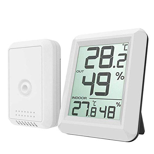 LCD Thermometer Hygrometer, YiMiky Digital LCD Wireless Thermometer Hygrometer Monitor Gauge Weather Station Indoor Outdoor Monitor with Transmitter for Home Office Baby Room