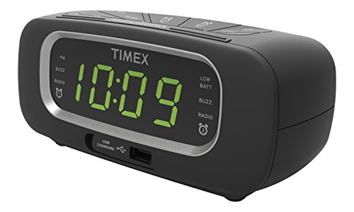 Timex T2351B FM Dual Alarm Clock Radio with USB Charging Port Digital Tuning Large 0.9-Inch Green LED Display and Aux-in Jack