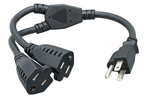 Cablelera Power Cord Extension and Splitter, NEMA 5-15P to NEMA 5-15R x 2, 16 AWG, 13A, 125V (ZWACPQAG-14)