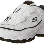 Skechers Sport Men's Afterburn Strike Memory Foam Velcro Sneaker, White/Navy, 10.5 M US
