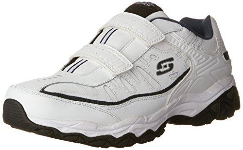 Skechers Sport Men's Afterburn Strike Memory Foam Velcro Sneaker, White/Navy, 10.5 M US