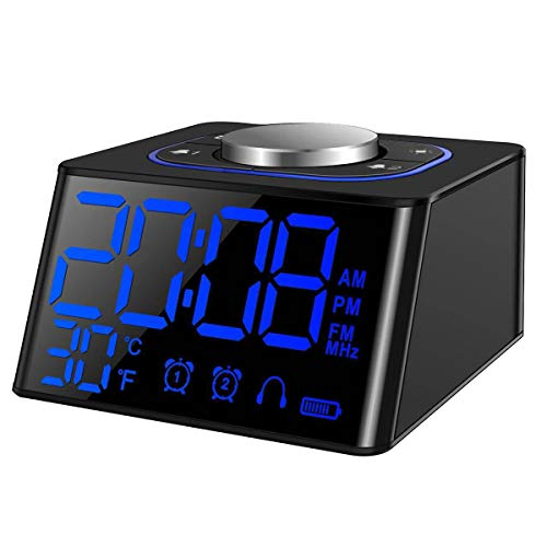 Small Digital Dual Alarm Clocks Radio FM for Bedrooms, with Earphone Jack,USB Charging Port for Smartphone,Indoor Thermometer,LED Dimmable Display,Alarm Volume Adjustable,AC & Battery Operated