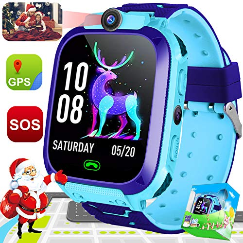 Kids Phone Smart Watch Boys Girls GPS Tracker 2 Way Call Wrist Watch 1.44″ HD Touch Camera Games SOS Anti Lost Children Fitness Tracker Alarm Clock Holiday Toy Christmas Birthday Gift New Year