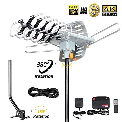 Outdoor TV Antenna 150 Miles Amplified Digital HDTV Antenna with 360°Rotation,Wireless Remote Control, 33 Feet Coax Cable with Mounting Pole -2018 Newest Version with 4K